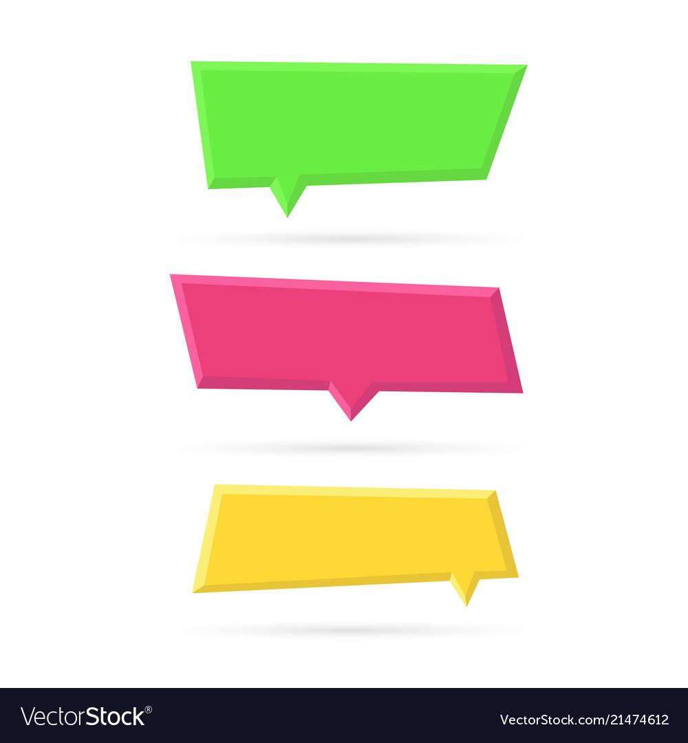 Set of color empty plastic speech bubbles