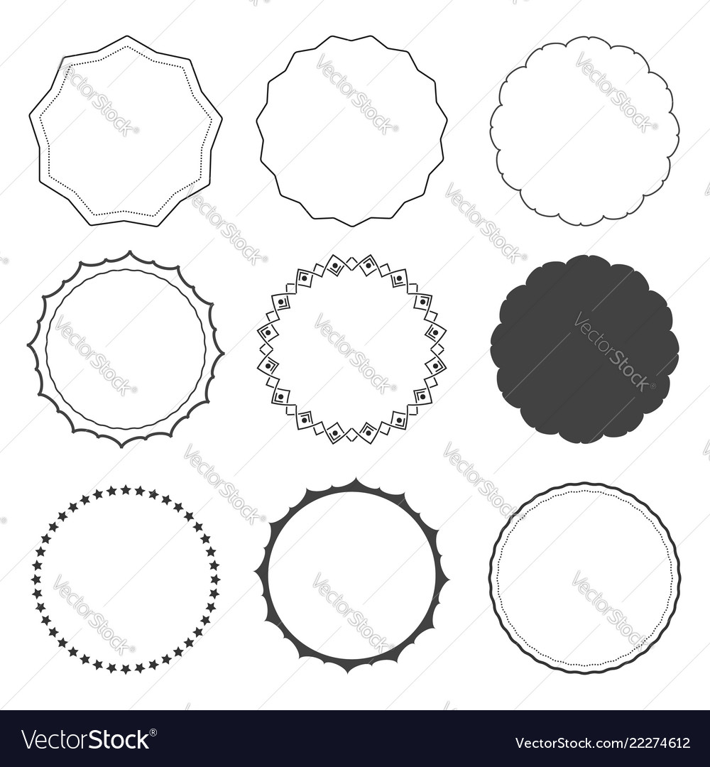 Set of nine design frames borders circles