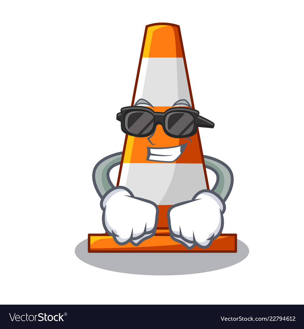 Super cool traffic cone on made in cartoon