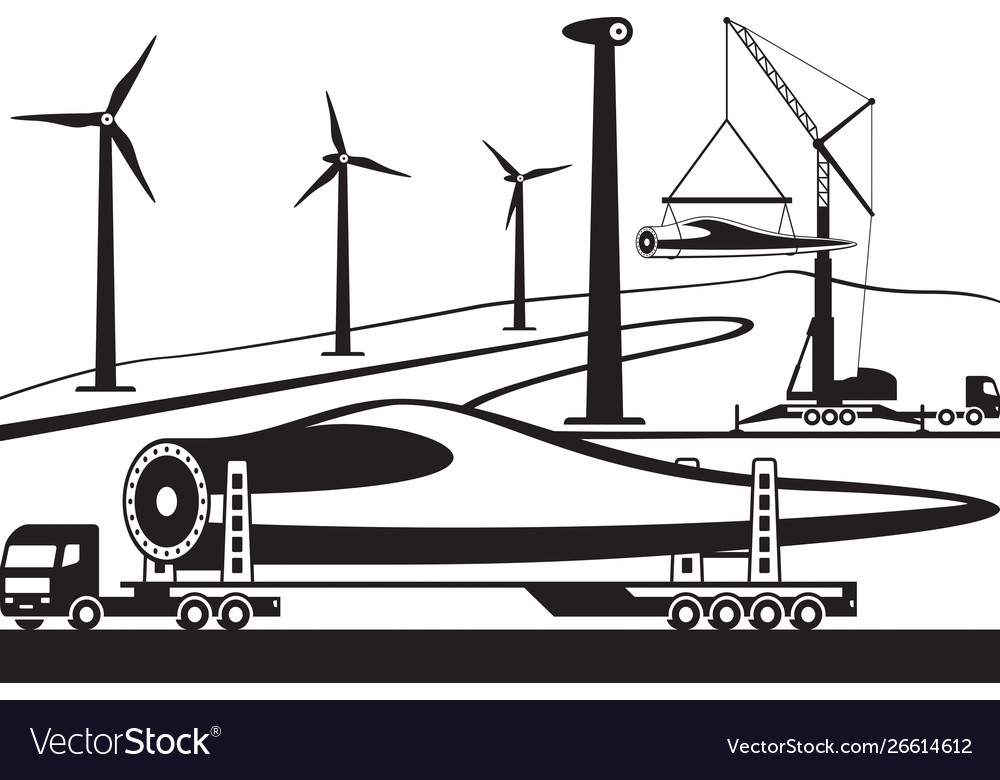 Truck carrying wind turbine blade
