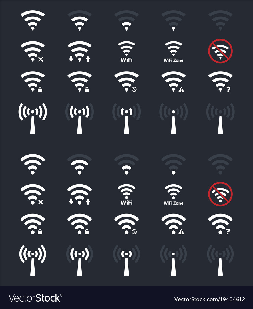 Wifi signs and icons wireless signal