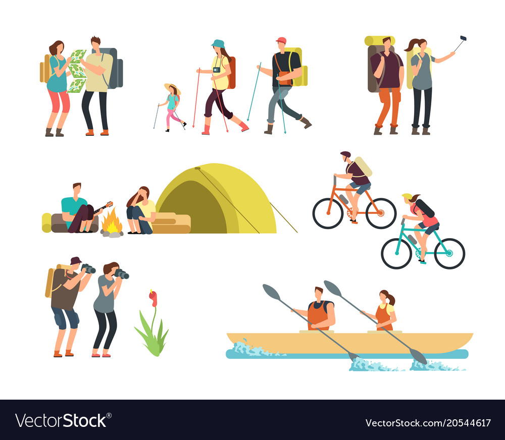 Active people hikers cartoon travelling family