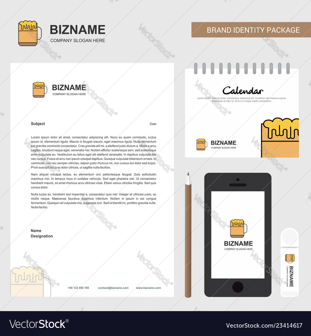 Beer business letterhead calendar 2019 and mobile