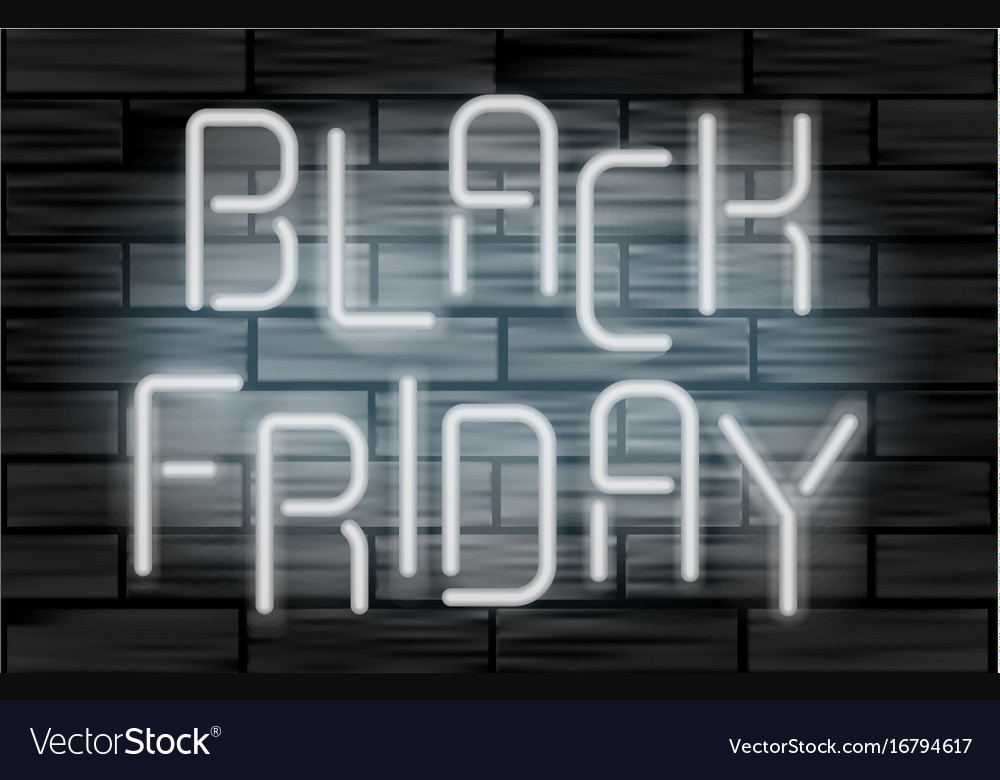 Black friday sale neon electric letters on black