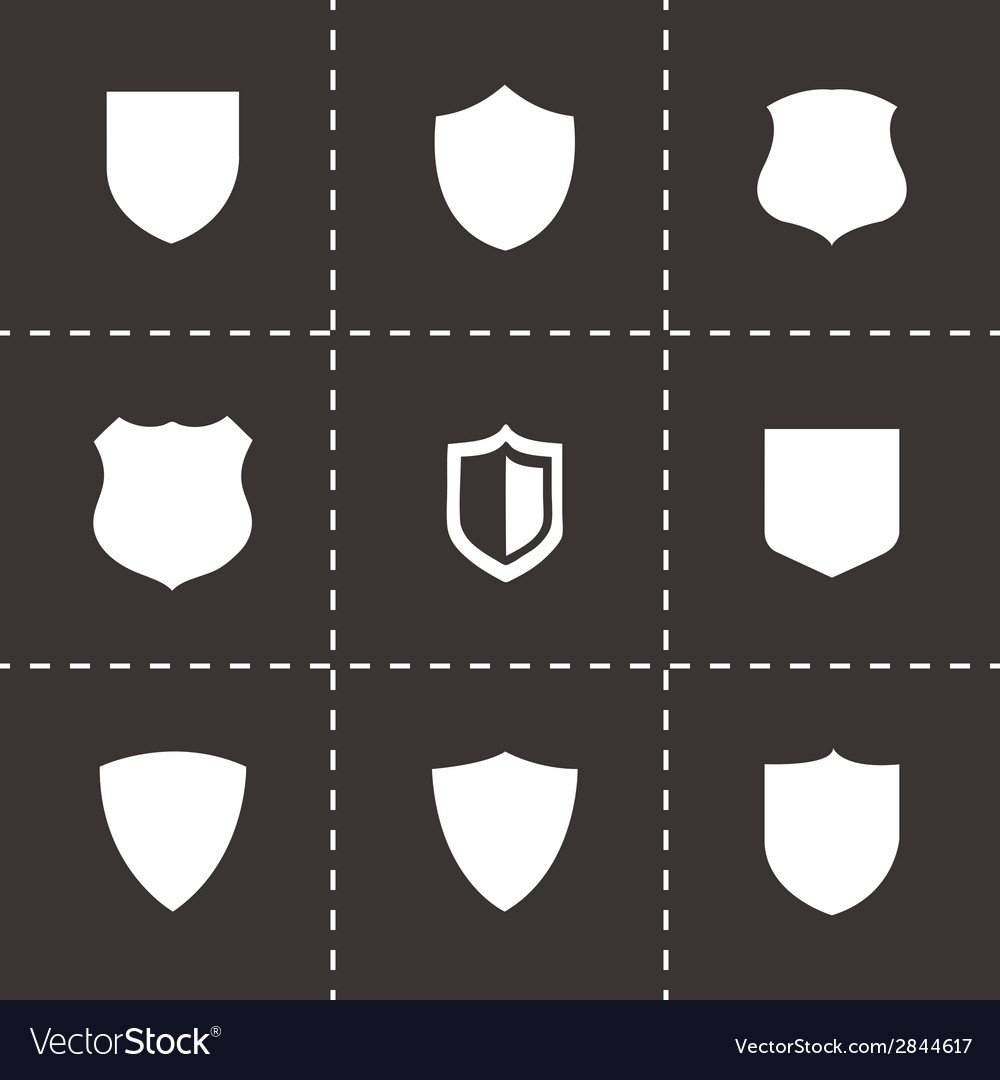 Black shield icons set