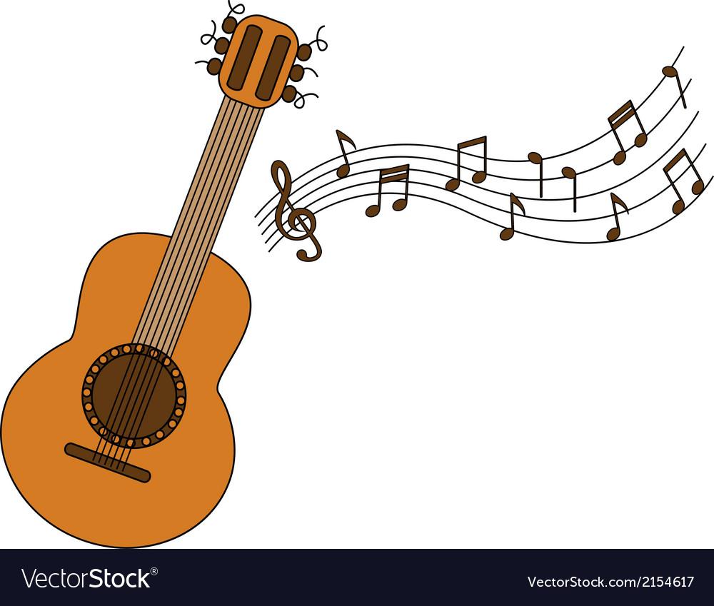 Cartoon Acoustic Guitar And Sheet Music