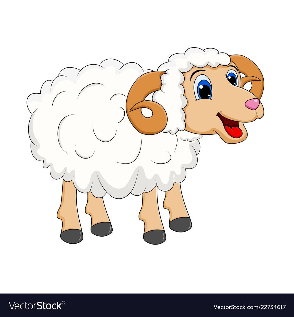 Cartoon white ram design isolated on white