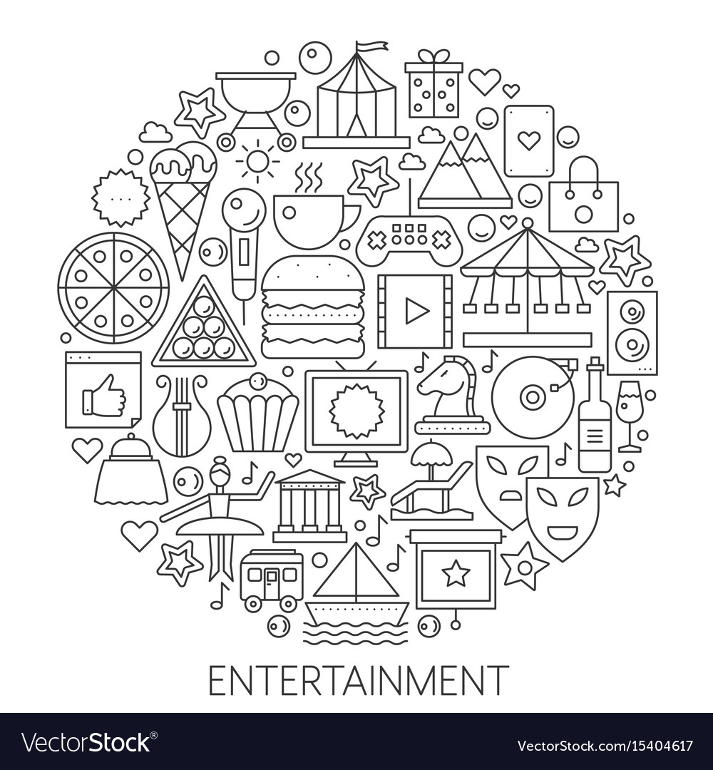 Entertainment infographic icons in circle