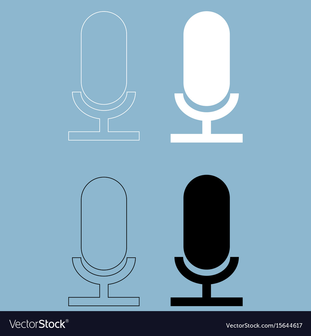 Microphone the black and white color icon