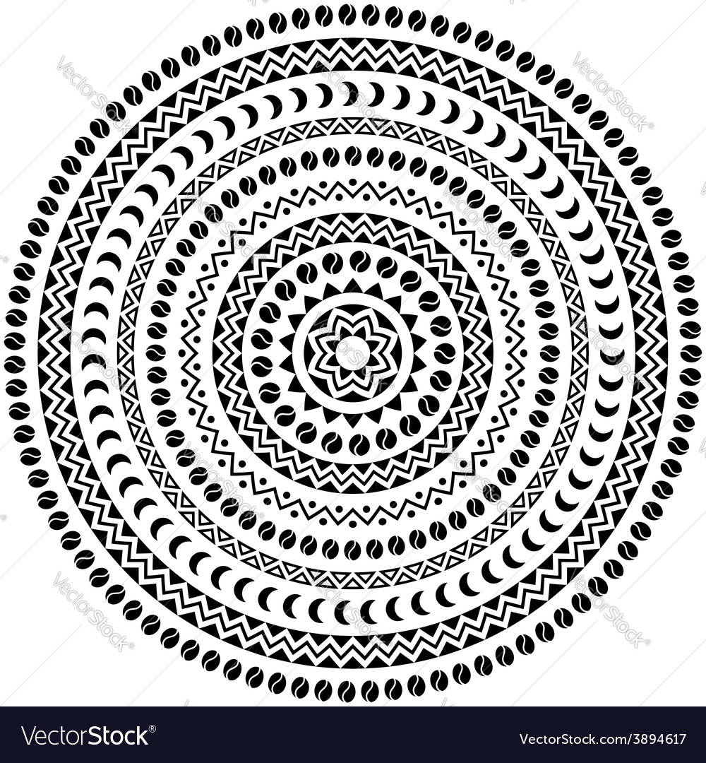 Round ornament with animals vases drums