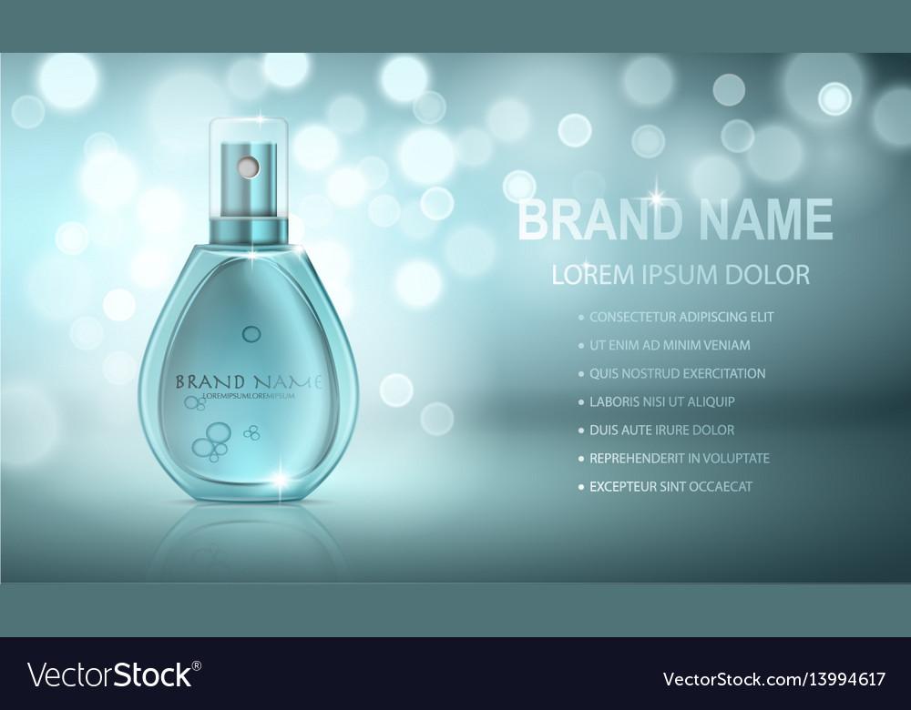 Turquoise realistic parfume bottle