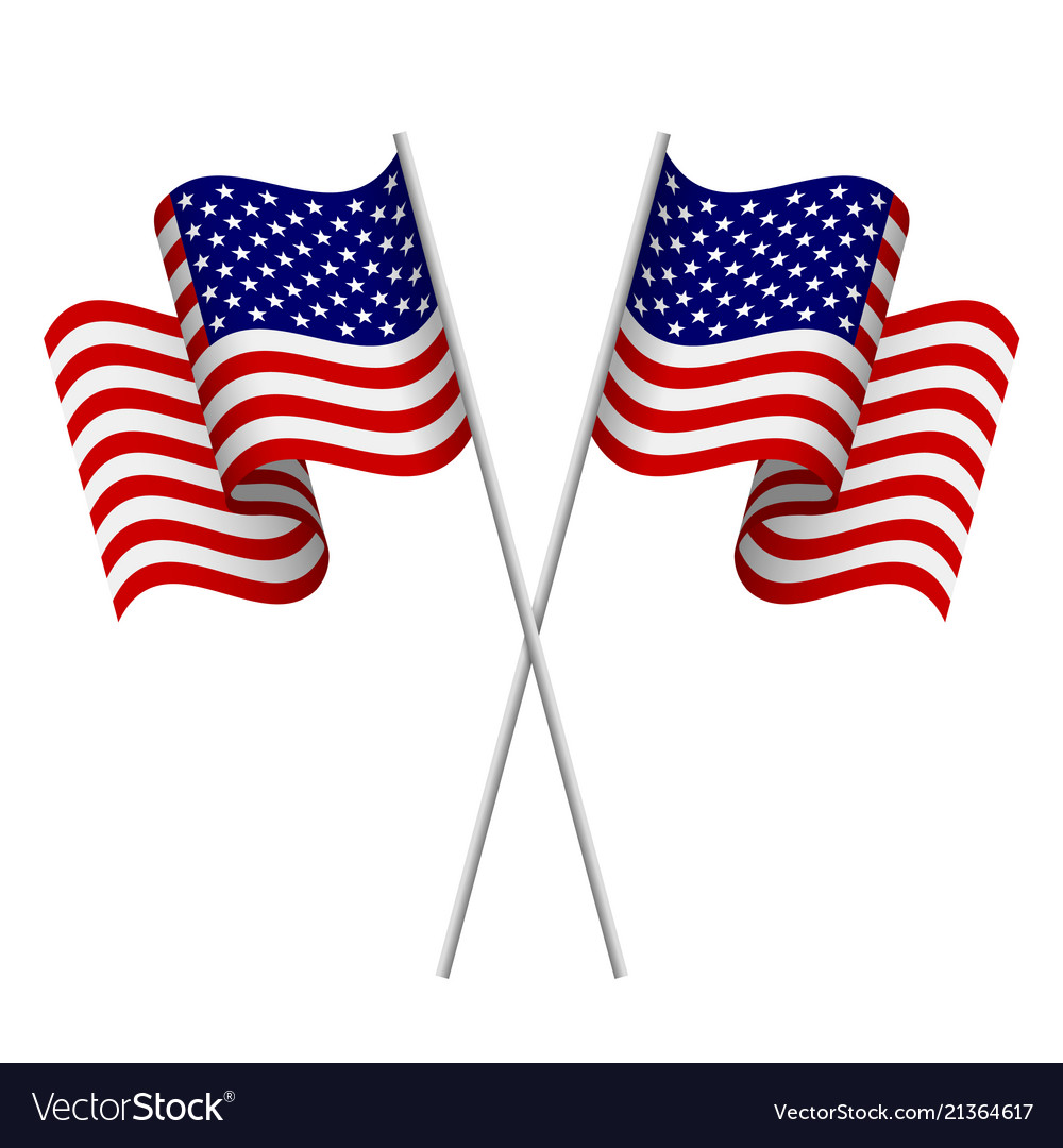 Two 3d american flags