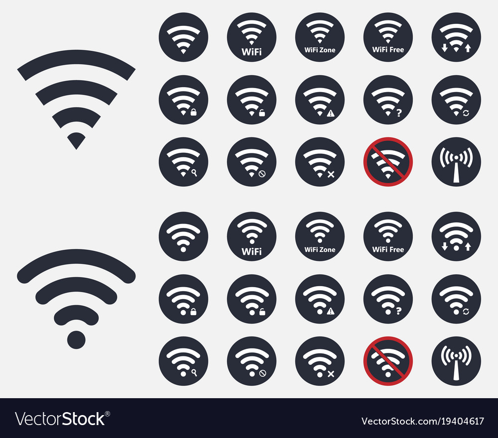 Wireless icons set wifi signs