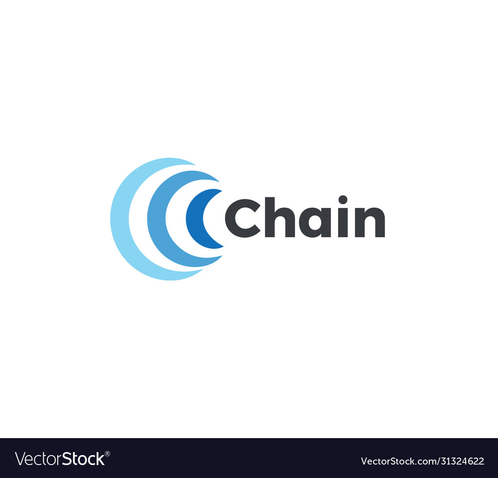 Abstract chain icon blue arc in semicircle