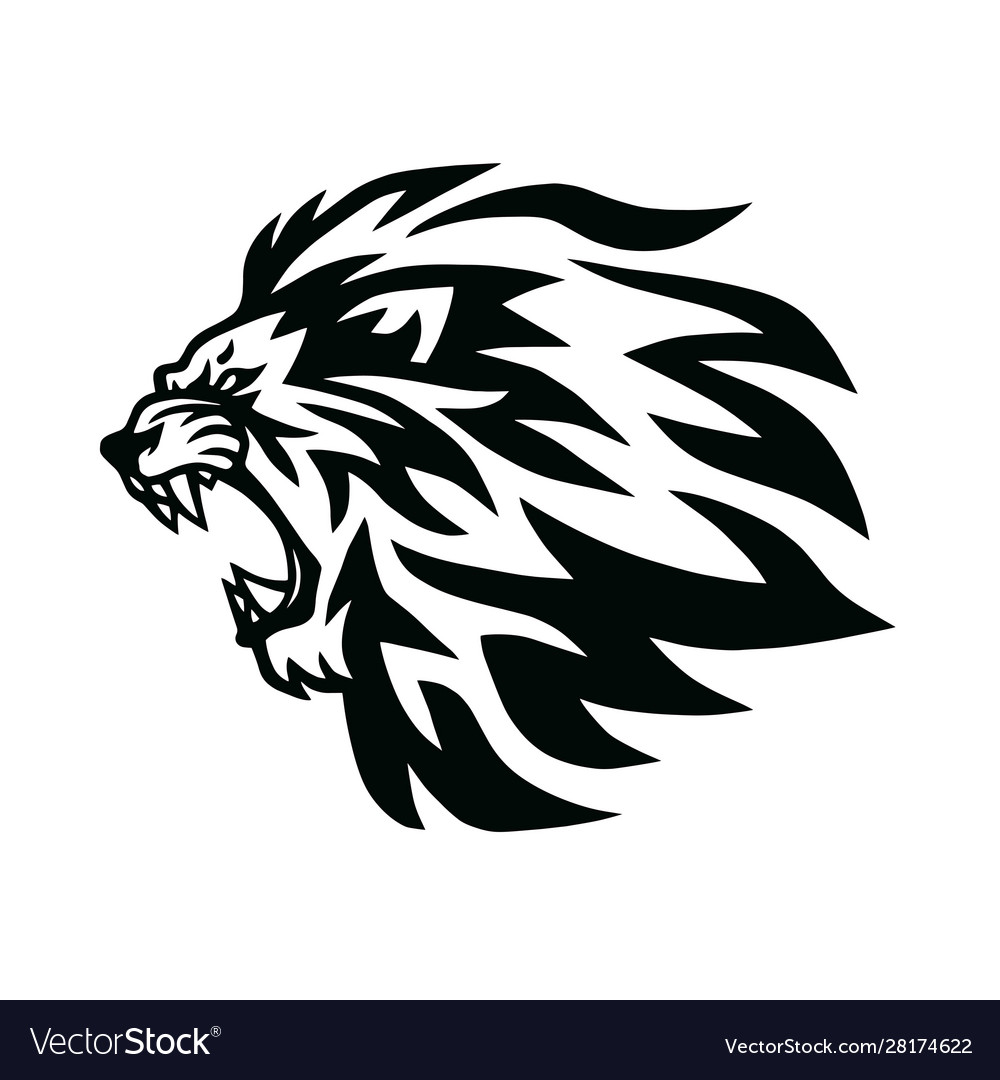 Angry Lion Head Roaring Logo Template Line Vector Image Free for commercial use no attribution required high quality images. vectorstock