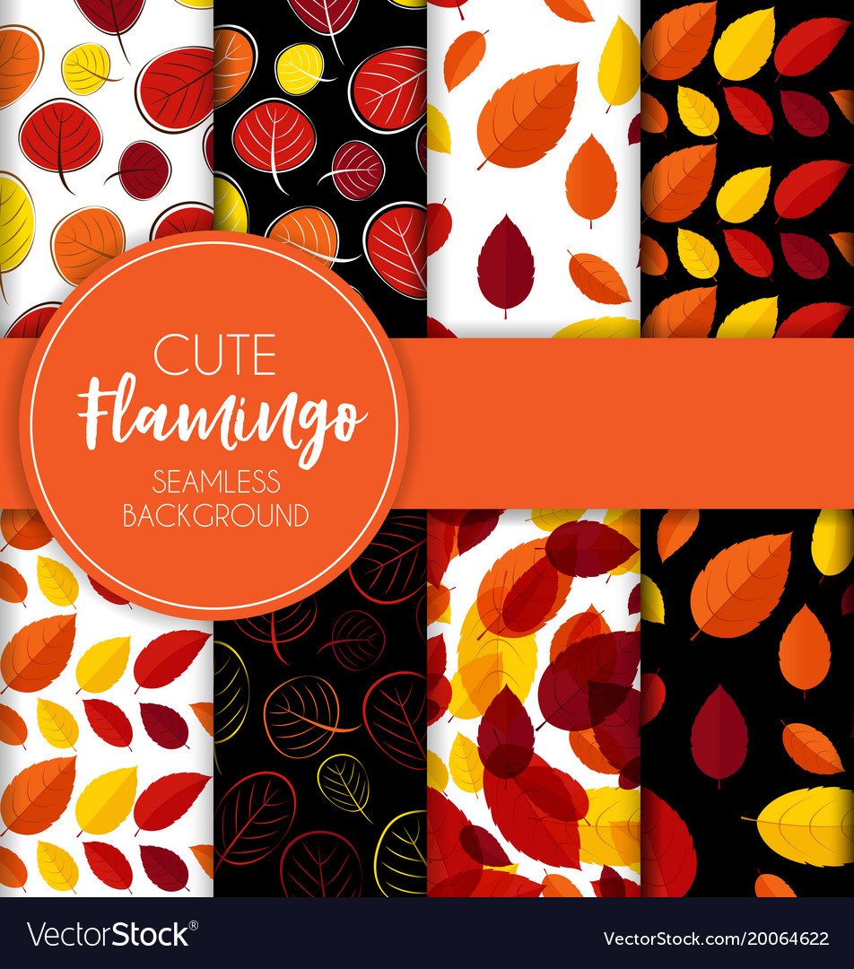 Autumn leaves seamless pattern collection set