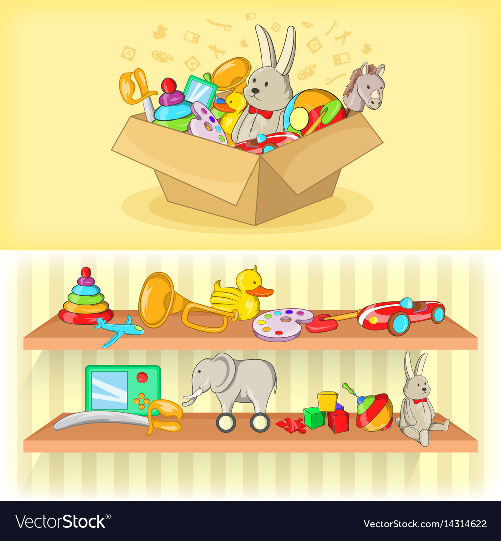 Baby Toys Banner Set Horizontal Cartoon Style Vector Image