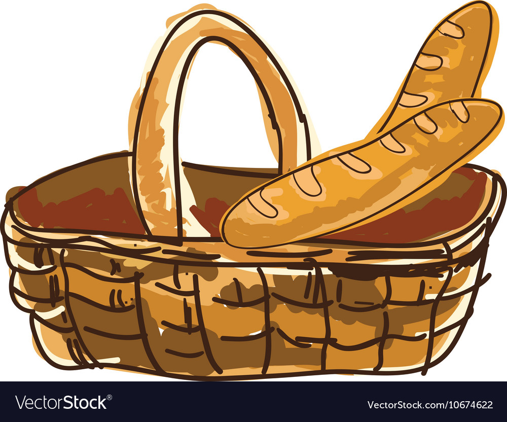 Basket with french baguette bread