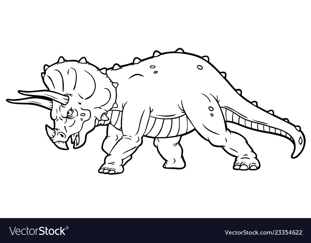 angry triceratops dinosaur coloring pages for kids