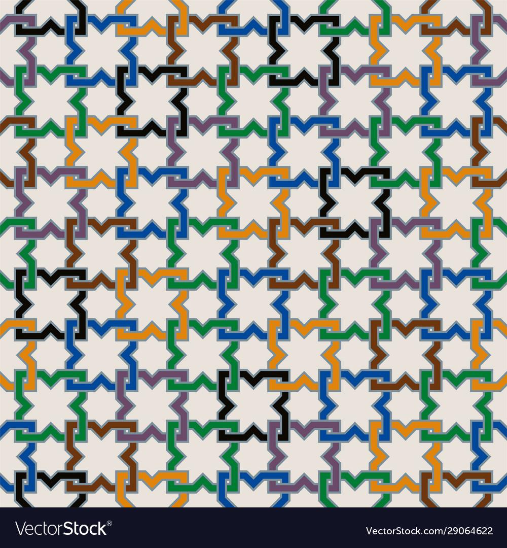 Colorful moorish seamless mosaic ornament