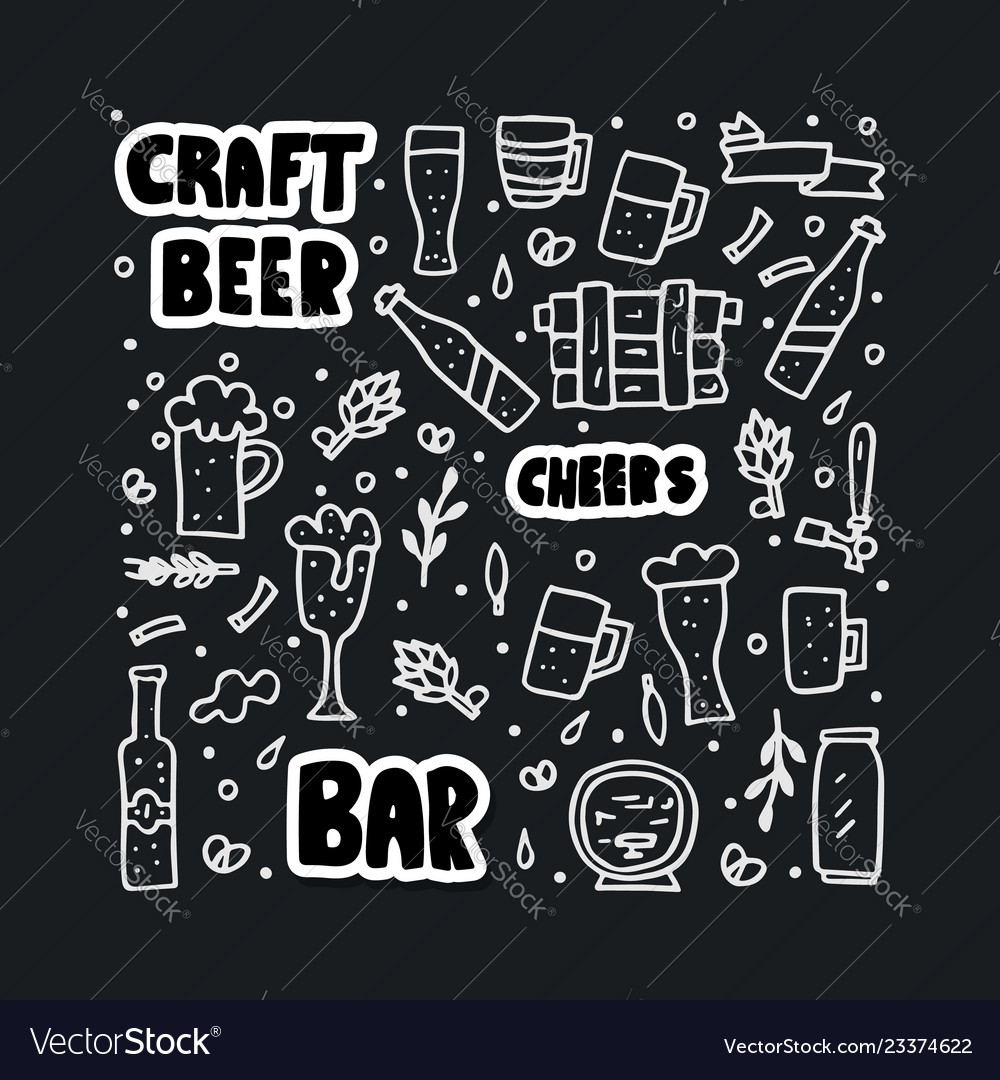 Craft beer elements set