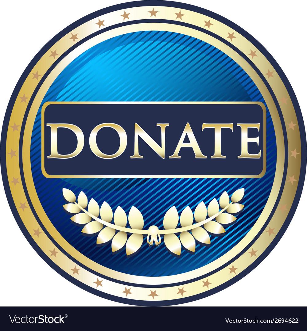 Donate Blue Label vector image
