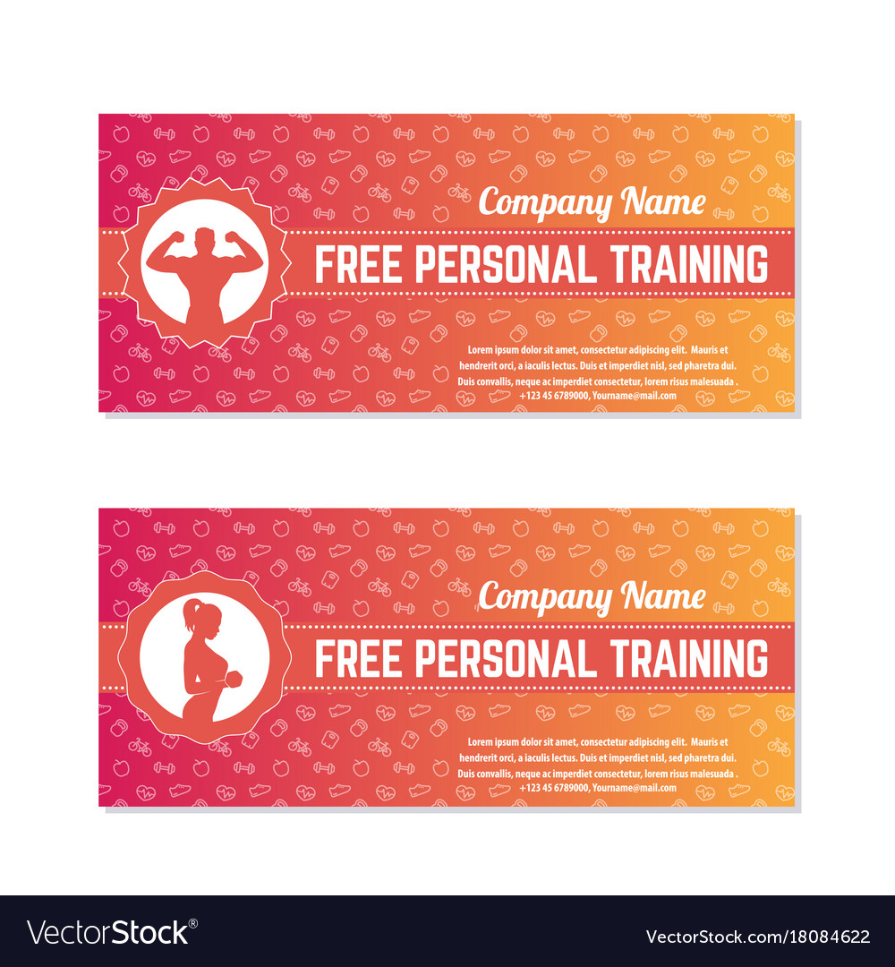 Free Personal Training Gift Vouchers Royalty Free Vector