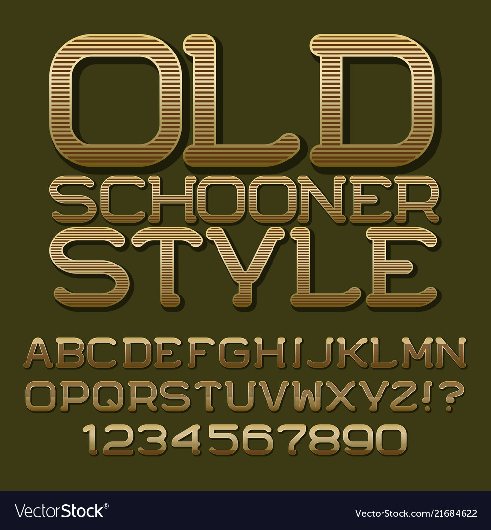 Golden letters numbers beautiful roundish font