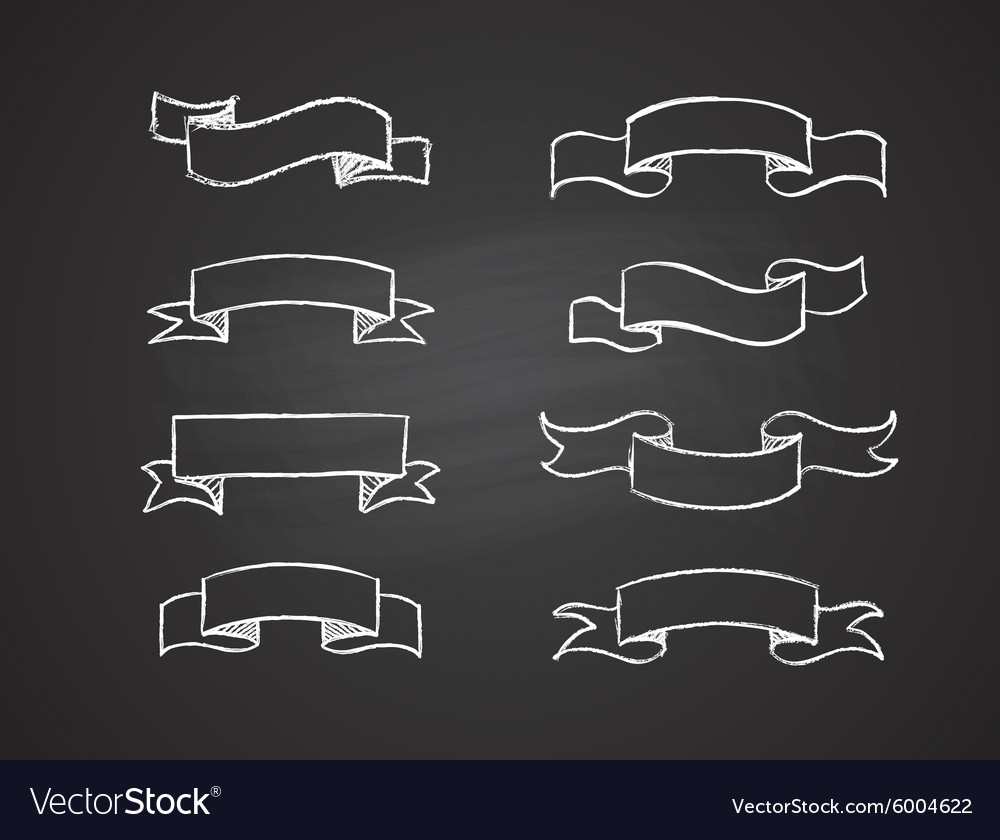Hand-drawn retro scribble banners vector image