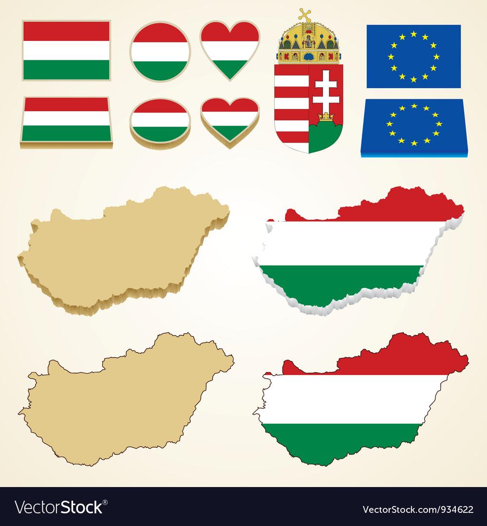 Hungary map flag 3D pack
