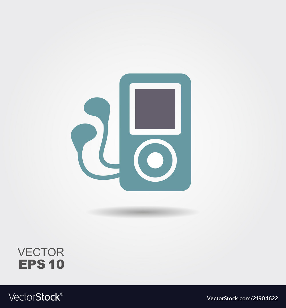Mp3 player headphones icon in flat style isolated