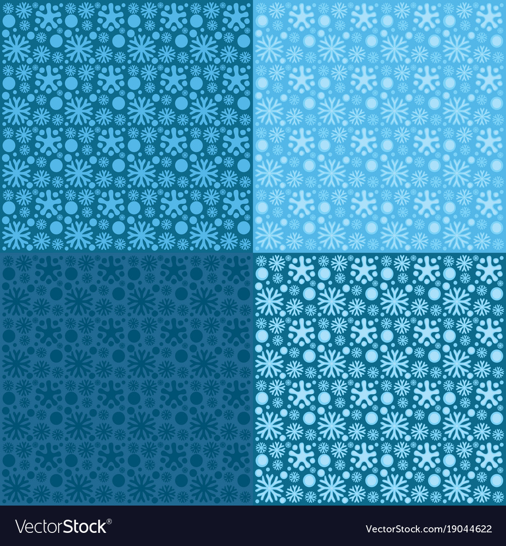 Seamless patterns snowflakes on blue background