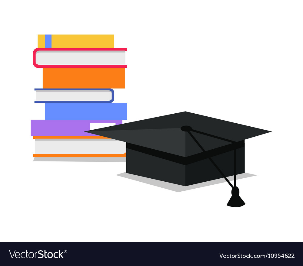 Stack of Books and Square Academic Cap