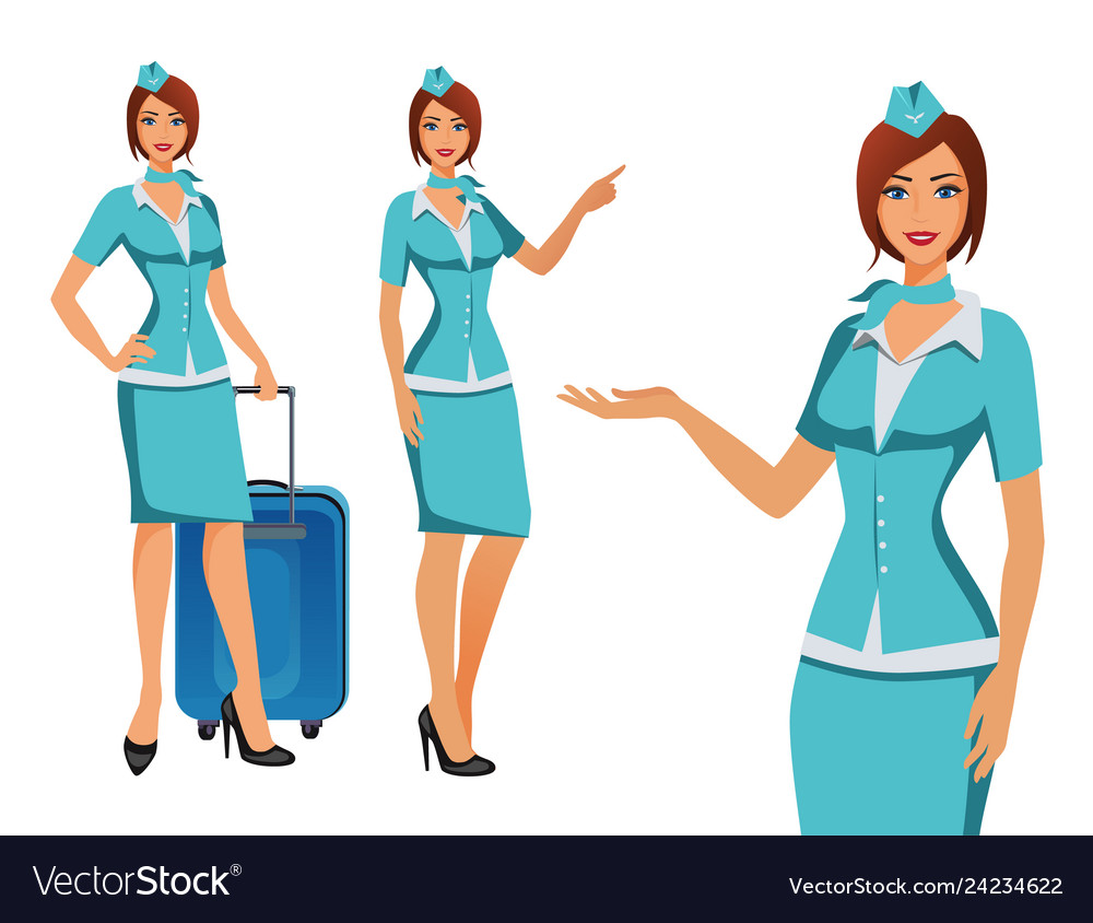 Stewardess in blue uniform flying attendants air