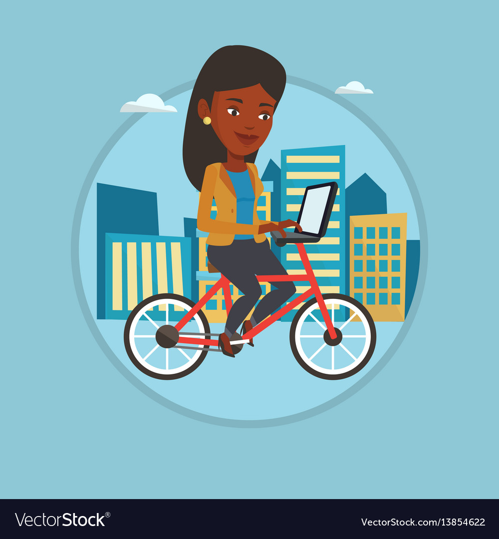 Woman riding bicycle in the city vector image