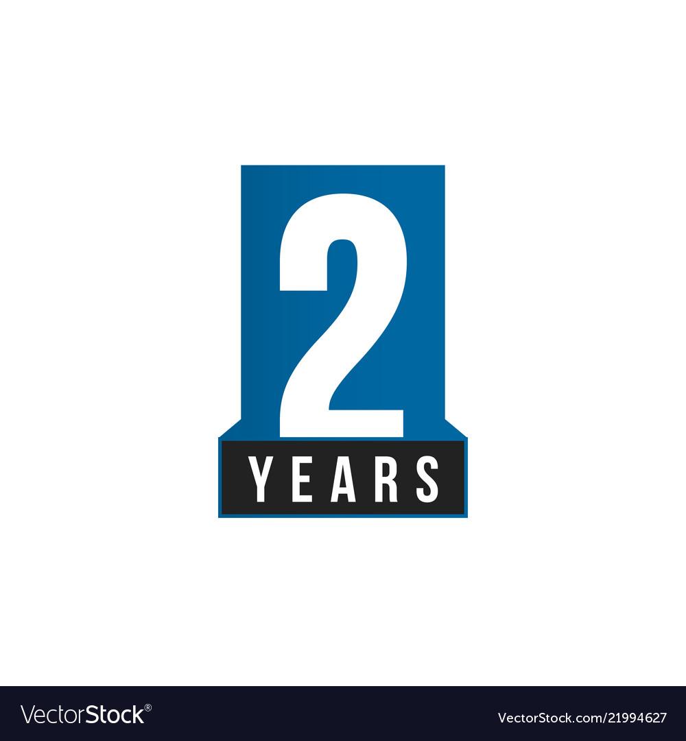 2 years icon birthday logo template