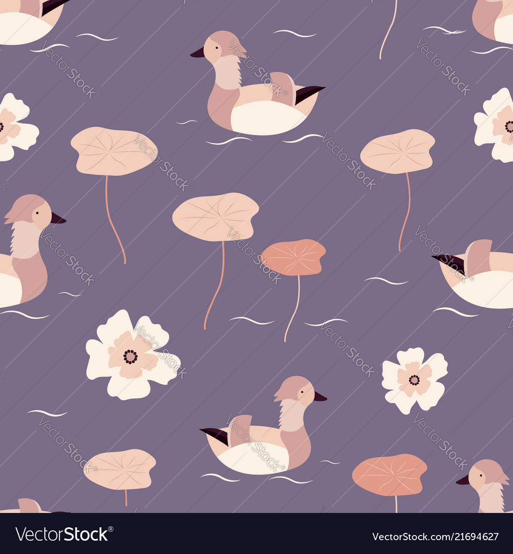 Beach tropical seamless pattern with mandarin duck