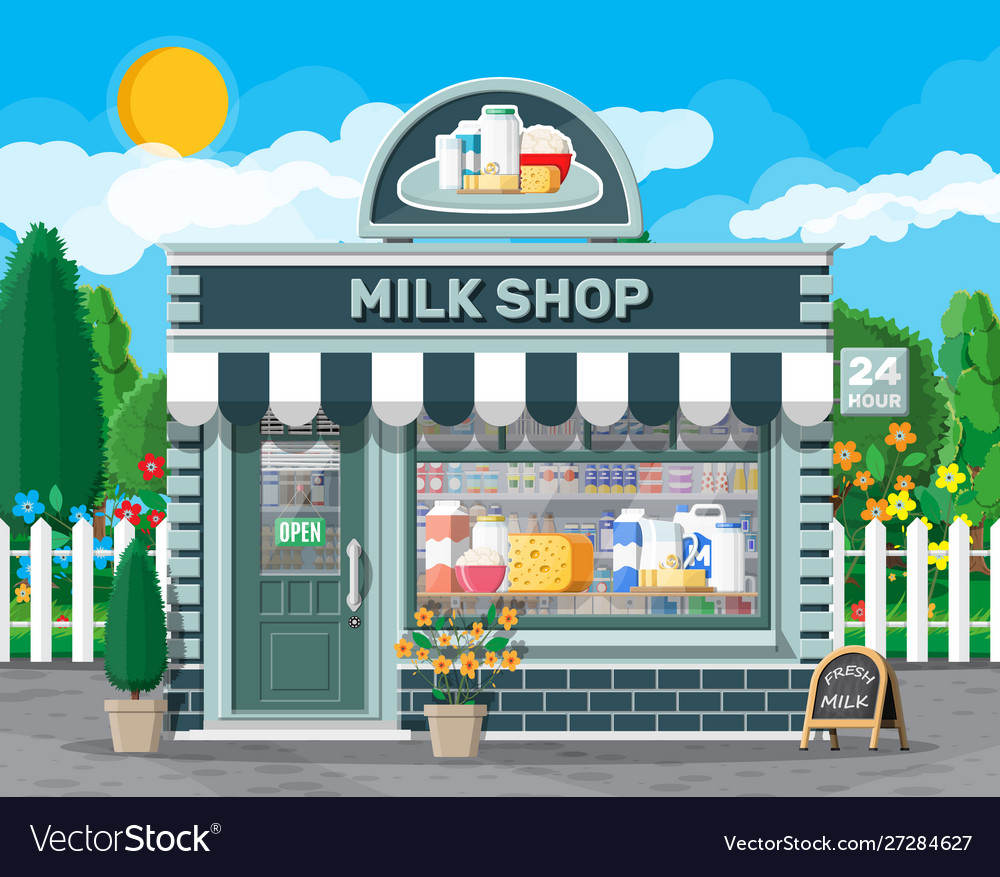 Dairy store or milk shop with signboard awning