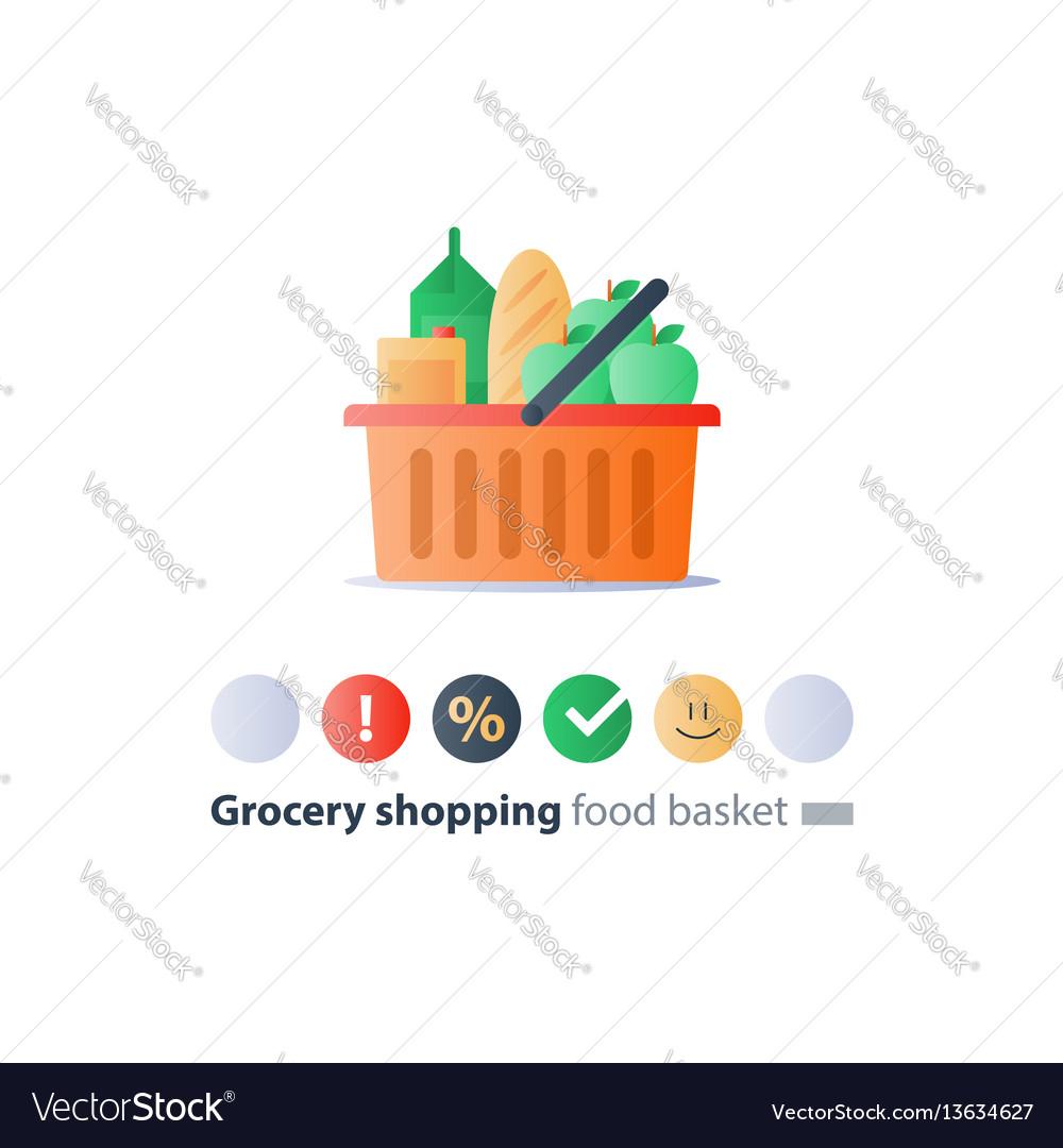 Food abundance grocery order food pile in basket vector image