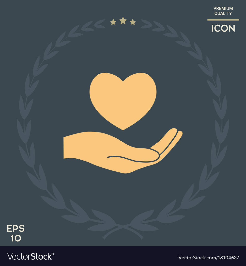 Hand holding heart symbol