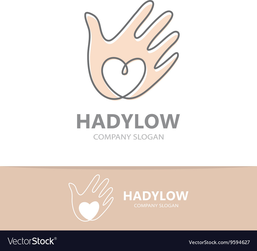 Hand with heart logo design vector image