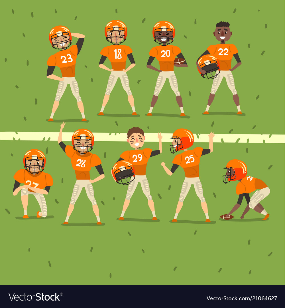 Professional american football team players in
