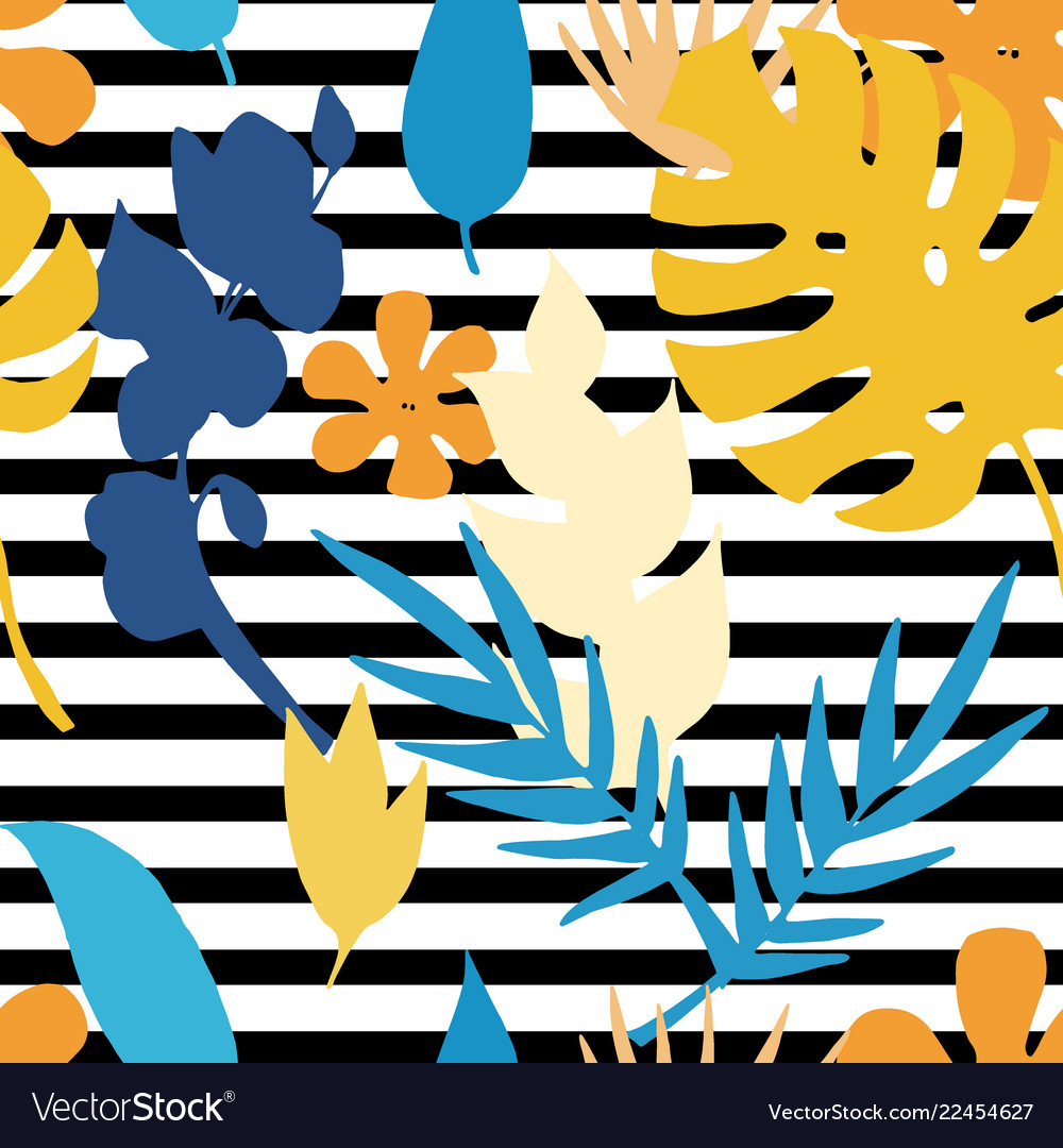 Seamless pattern with silhouette tropical