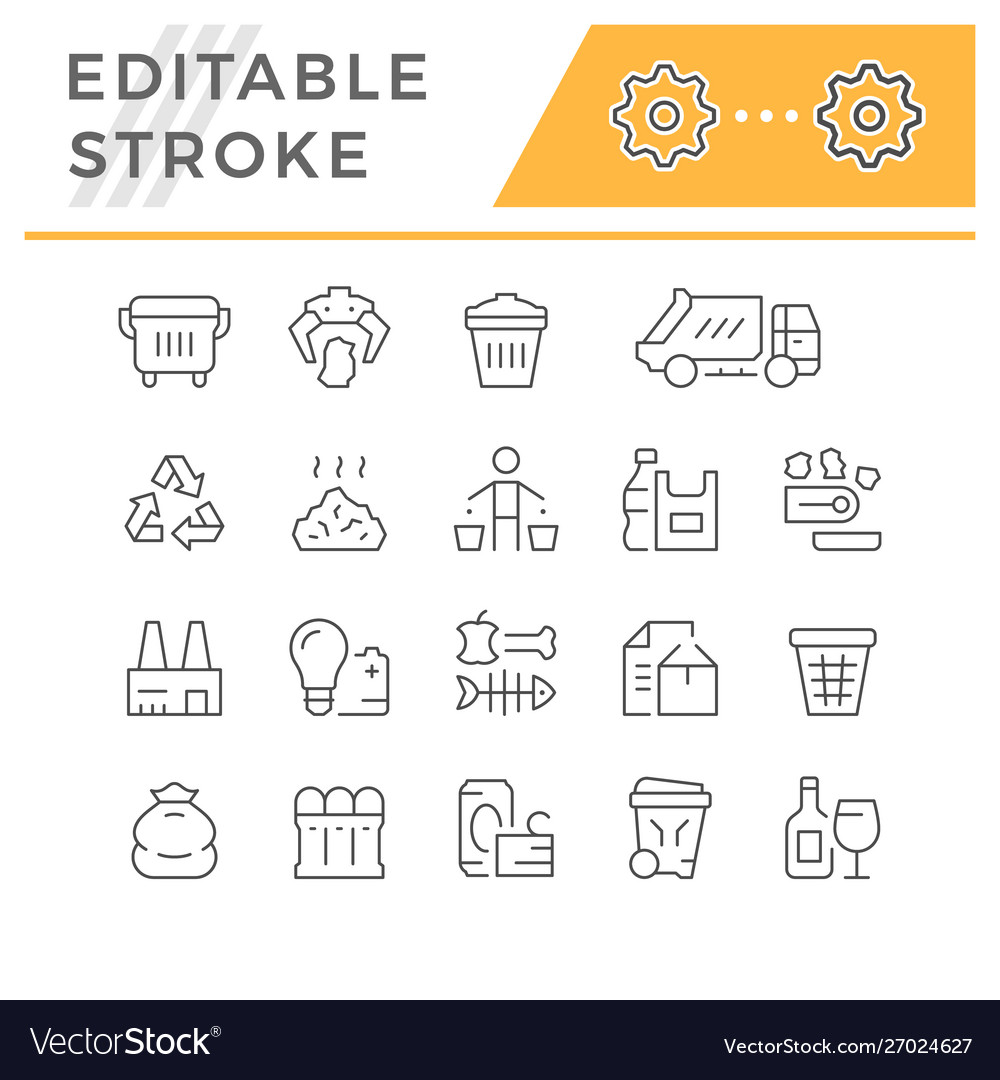 Set editable stroke line icons trash