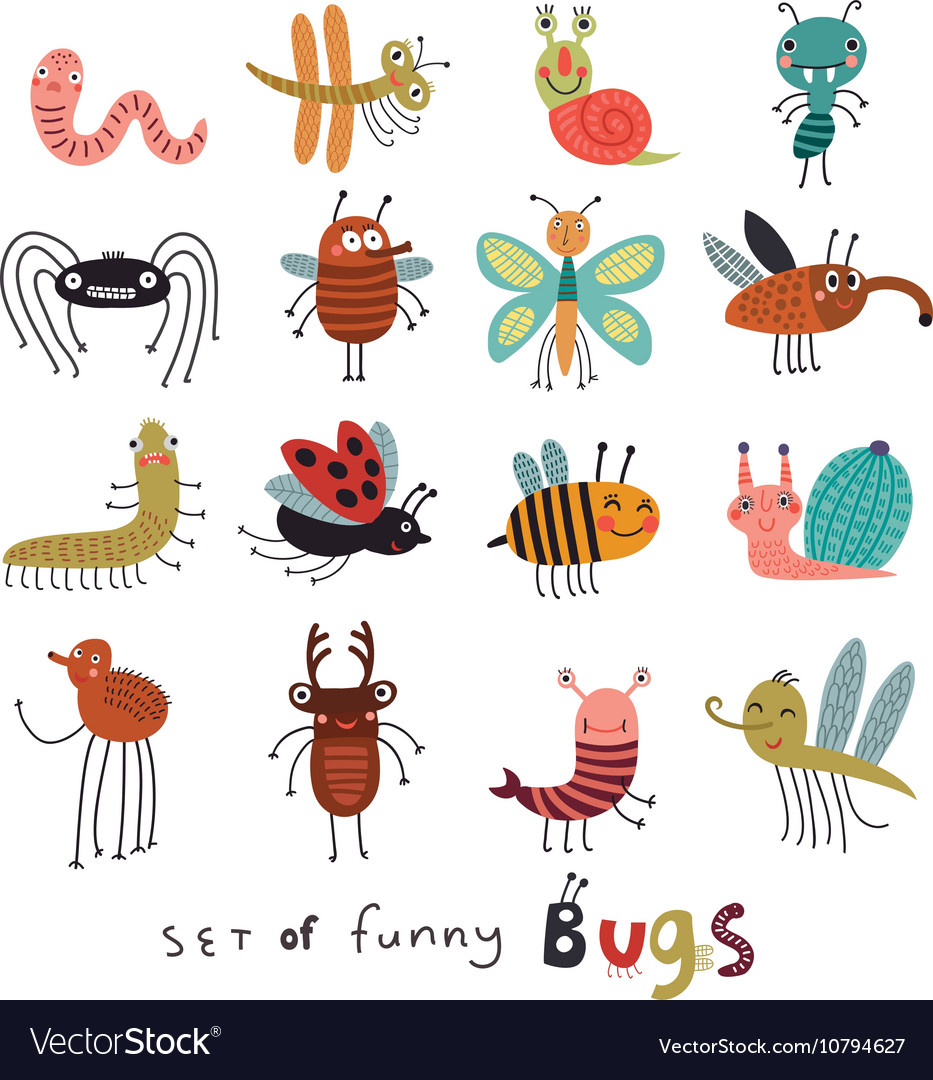 Set funny bugs vector