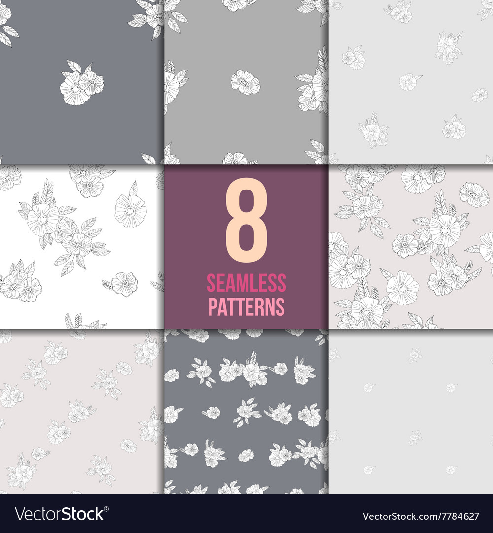 Set of eight black and white floral patterns