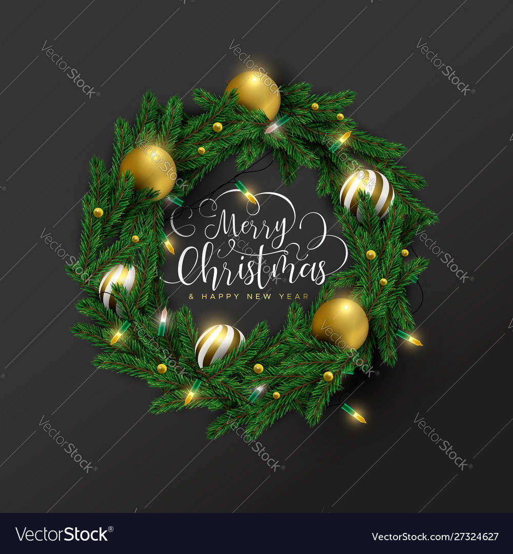 Year 3d gold ornament wreath card
