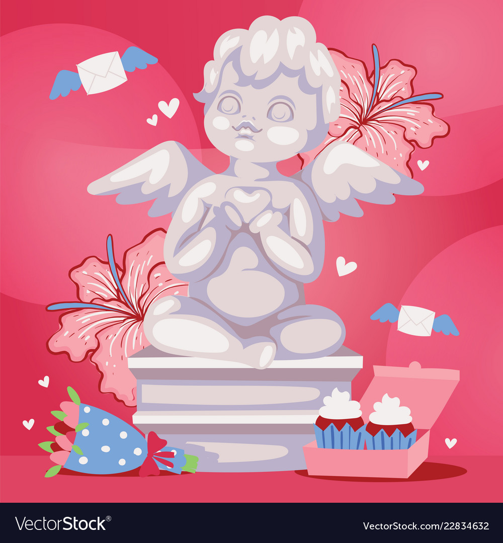 Angelic cupid sculpture background
