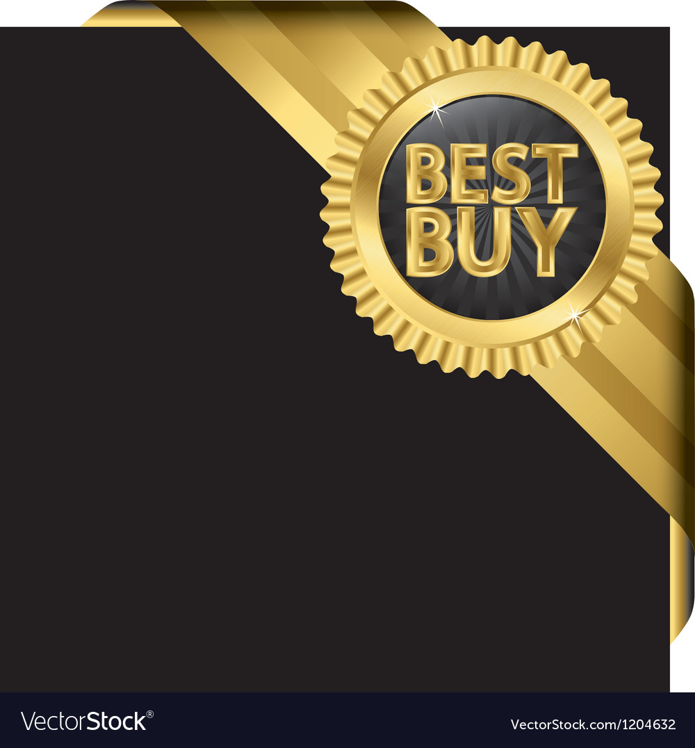 Best buy golden label with ribbons