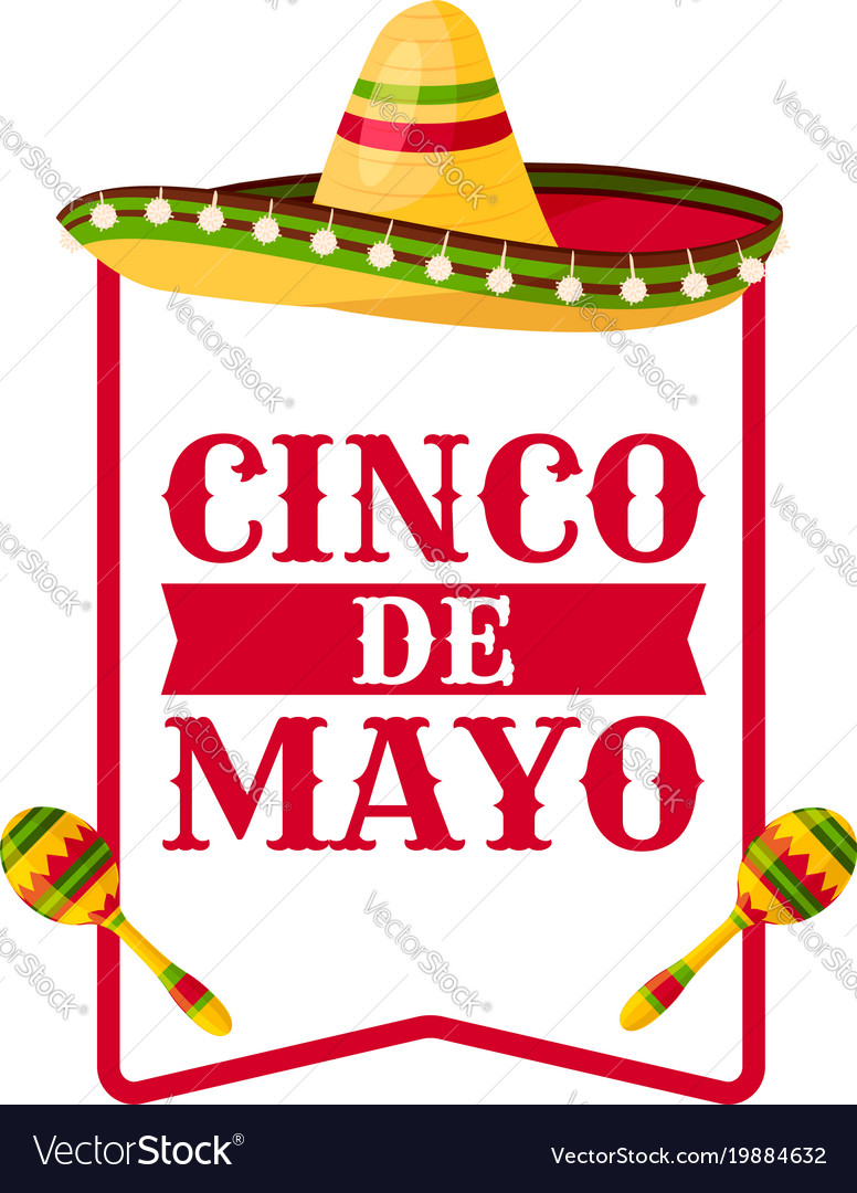 Cinco de mayo greeting card with mexican sombrero vector image m4hsunfo